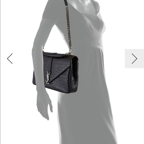 ac9b5567d Yves Saint Laurent Bags | Saint Laurent College Bag Croc Embossed ...